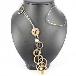Necklace Steel long and  Silver 925 Goldplated -