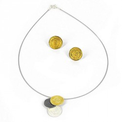 Pendant Silver oxidized and Goldplated  -