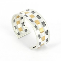 Bracelet Silver 925, Goldplated, oxidized -
