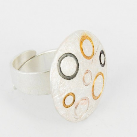 Ring open Silber Goldplated ruthinized  -