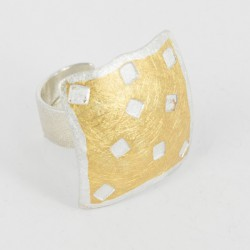 Ring open square Silver Goldplated  - 21625