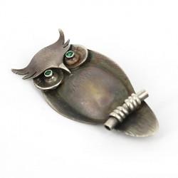 Brosche-Anhänger Silber oxididert Uhu