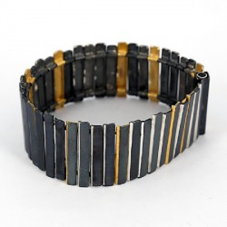 Bracelet Silver oxidized Goldplated