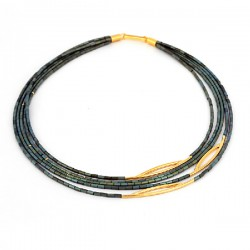 Halskette Grun Hematite Silber