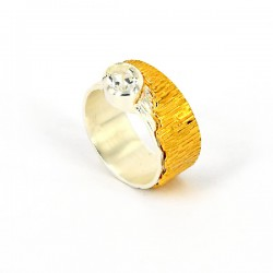 Ring Silber vergoldet + weiss Topas