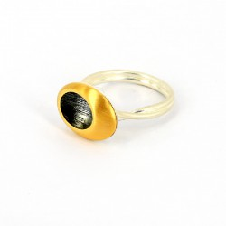 Ring Silber oxidiert vergoldet