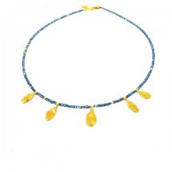Collar Vidrio azul y Plata chapada