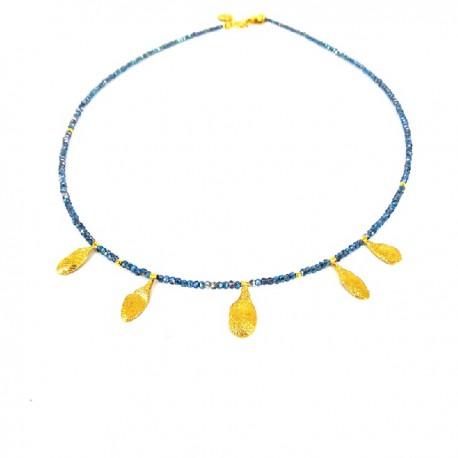 Halskette Glass silber vergoldet