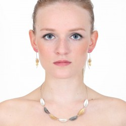 Necklace Steel Silver Goldplated oxidized - M141-07