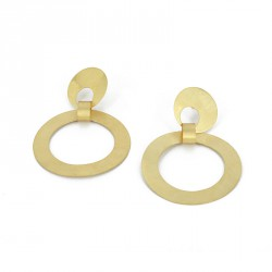 Earstickers Silver Goldplated. Single Ring. Length.: 6 cm  - KRK19