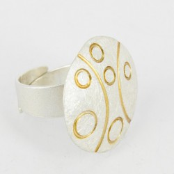 Ring open rund. Diameter 56 mm Silver Goldplated  - 24681
