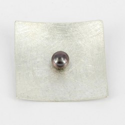Brooch-Pendant Silver with black Pearl. Square 44 x 44 mm - 25232