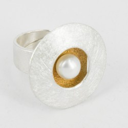 Ring Silver Goldplated and Pearl (27 mm) - 25623