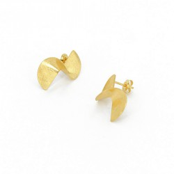Earrings Design Silver Goldplated. Length.: 2 cm - KFT1GOLD