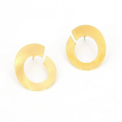 ohrstecker oval lang Silber vergoldet -