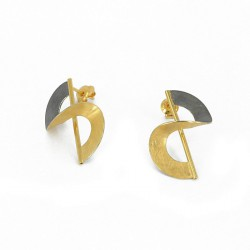 Earrings Silver Goldplated. Diameter 2 cm - KTBAU/OX
