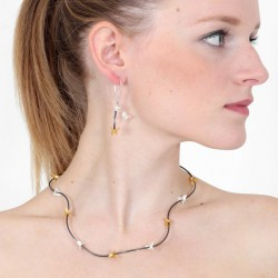 Necklace Silver, Goldplated oxidized - 389-12AGOXVG