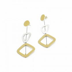 Earrings Stickers Silver Golplated and Steal. Long: 7 cm - ZW32F