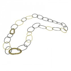 Necklace-Chain Silber Goldplated and oxidized. Length: 100 cm - ZW45
