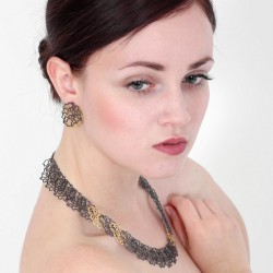 Necklace Silver oxidized Goldplated - 53EE