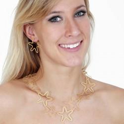 Halskette Ssilber vergoldet, 14 elemente Sterne mit magnetverschluss - 66D
