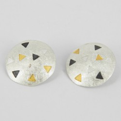 Earrings Clips round with triangles in silver oxidized Goldpalted  - 21329-S